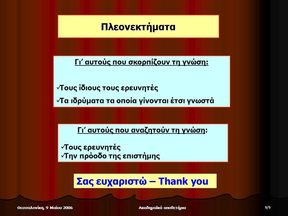 Ακαδημαϊκά αποθετήρια 9/99/9 Θεσσαλονίκη, 9 Μαίου 2006 Πλεονεκτήματα Γι' αυτούς που σκορπίζουν τη γνώση: Τους ίδιους τους ερευνητές Τα ιδρύματα τα οποία γίνονται έτσι γνωστά Γι' αυτούς που αναζητούν τη γνώση: Τους ερευνητές Την πρόοδο της επιστήμης Σας ευχαριστώ – Thank you