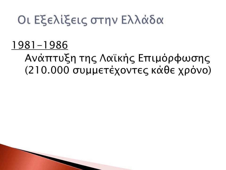 1981-1986 Ανάπτυξη της Λαϊκής Επιμόρφωσης (210.000 συμμετέχοντες κάθε χρόνο)