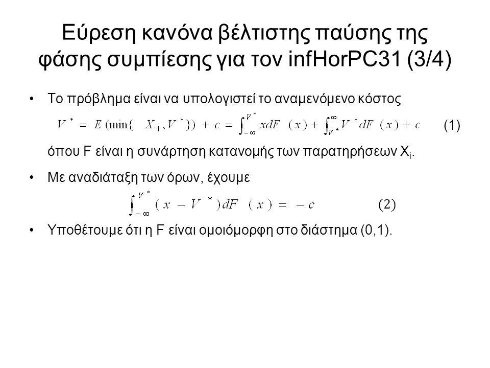 Εύρεση κανόνα βέλτιστης παύσης της φάσης συμπίεσης για τον infHorPC31 (3/4) Το πρόβλημα είναι να υπολογιστεί το αναμενόμενο κόστος (1) όπου F είναι η συνάρτηση κατανομής των παρατηρήσεων Χ i.