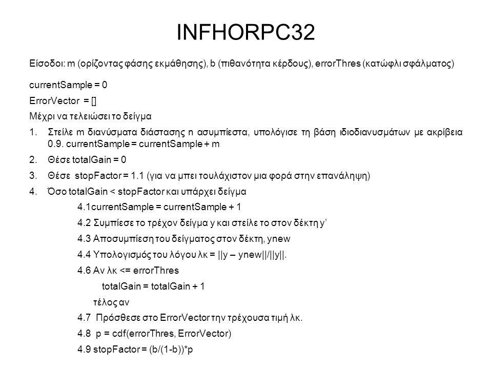 INFHORPC32 Είσοδοι: m (ορίζοντας φάσης εκμάθησης), b (πιθανότητα κέρδους), errorThres (κατώφλι σφάλματος) currentSample = 0 ErrorVector = [] Μέχρι να τελειώσει το δείγμα 1.Στείλε m διανύσματα διάστασης n ασυμπίεστα, υπολόγισε τη βάση ιδιοδιανυσμάτων με ακρίβεια 0.9.