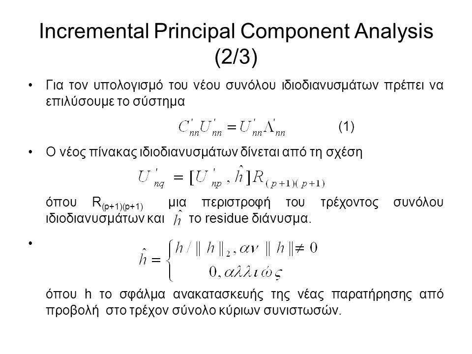 Incremental Principal Component Analysis (2/3) Για τον υπολογισμό του νέου συνόλου ιδιοδιανυσμάτων πρέπει να επιλύσουμε το σύστημα (1) Ο νέος πίνακας ιδιοδιανυσμάτων δίνεται από τη σχέση όπου R (p+1)(p+1) μια περιστροφή του τρέχοντος συνόλου ιδιοδιανυσμάτων και το residue διάνυσμα.