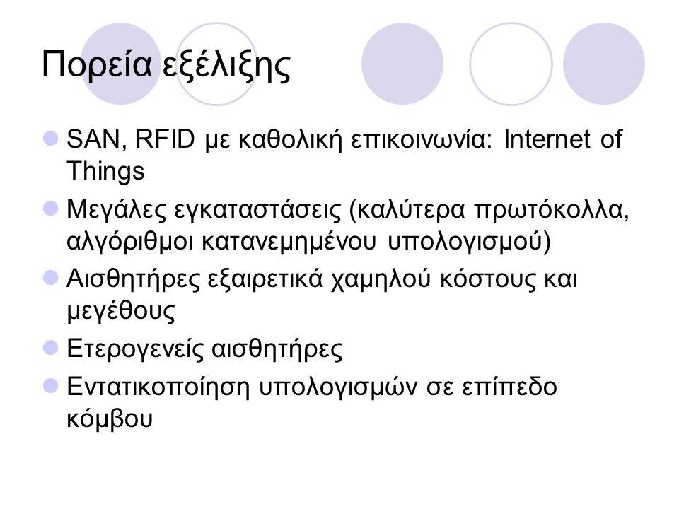 Πορεία εξέλιξης SAN, RFID με καθολική επικοινωνία: Internet of Things Μεγάλες εγκαταστάσεις (καλύτερα πρωτόκολλα, αλγόριθμοι κατανεμημένου υπολογισμού) Αισθητήρες εξαιρετικά χαμηλού κόστους και μεγέθους Ετερογενείς αισθητήρες Εντατικοποίηση υπολογισμών σε επίπεδο κόμβου