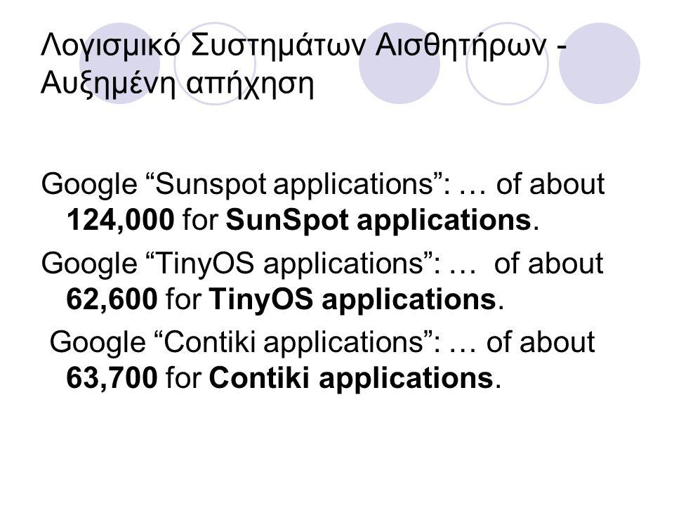 Λογισμικό Συστημάτων Αισθητήρων - Αυξημένη απήχηση Google Sunspot applications : … of about 124,000 for SunSpot applications.