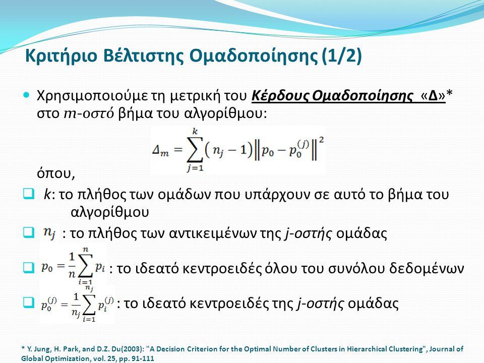 Κριτήριο Βέλτιστης Ομαδοποίησης (1/2) Χρησιμοποιούμε τη μετρική του Κέρδους Ομαδοποίησης «Δ»* στο m-οστό βήμα του αλγορίθμου: όπου,  k: το πλήθος των ομάδων που υπάρχουν σε αυτό το βήμα του αλγορίθμου  : το πλήθος των αντικειμένων της j-οστής ομάδας  : το ιδεατό κεντροειδές όλου του συνόλου δεδομένων  : το ιδεατό κεντροειδές της j-οστής ομάδας * Y.