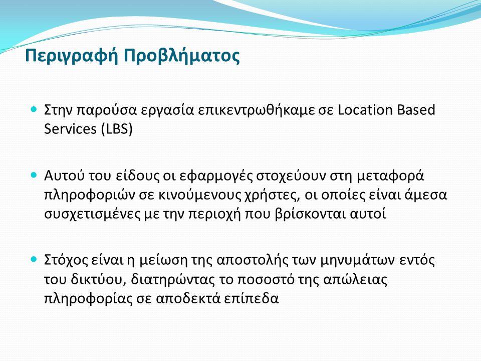 Περιγραφή Προβλήματος Στην παρούσα εργασία επικεντρωθήκαμε σε Location Based Services (LBS) Αυτού του είδους οι εφαρμογές στοχεύουν στη μεταφορά πληροφοριών σε κινούμενους χρήστες, οι οποίες είναι άμεσα συσχετισμένες με την περιοχή που βρίσκονται αυτοί Στόχος είναι η μείωση της αποστολής των μηνυμάτων εντός του δικτύου, διατηρώντας το ποσοστό της απώλειας πληροφορίας σε αποδεκτά επίπεδα