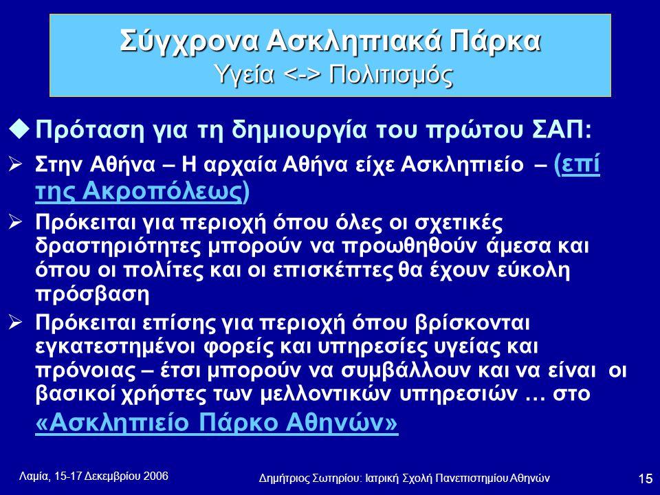 Λαμία, 15-17 Δεκεμβρίου 2006 Δημήτριος Σωτηρίου: Ιατρική Σχολή Πανεπιστημίου Αθηνών 15 uΠρόταση για τη δημιουργία του πρώτου ΣΑΠ:  Στην Αθήνα – Η αρχαία Αθήνα είχε Ασκληπιείο – (επί της Ακροπόλεως)επί της Ακροπόλεως  Πρόκειται για περιοχή όπου όλες οι σχετικές δραστηριότητες μπορούν να προωθηθούν άμεσα και όπου οι πολίτες και οι επισκέπτες θα έχουν εύκολη πρόσβαση  Πρόκειται επίσης για περιοχή όπου βρίσκονται εγκατεστημένοι φορείς και υπηρεσίες υγείας και πρόνοιας – έτσι μπορούν να συμβάλλουν και να είναι οι βασικοί χρήστες των μελλοντικών υπηρεσιών … στο «Ασκληπιείο Πάρκο Αθηνών» «Ασκληπιείο Πάρκο Αθηνών» Σύγχρονα Ασκληπιακά Πάρκα Υγεία Πολιτισμός