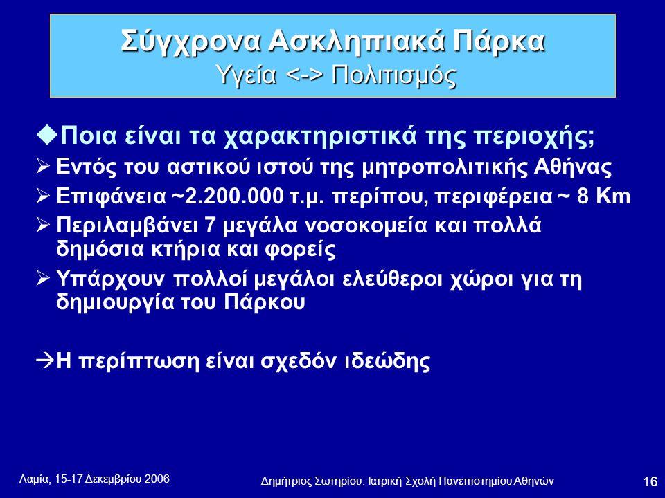 Λαμία, 15-17 Δεκεμβρίου 2006 Δημήτριος Σωτηρίου: Ιατρική Σχολή Πανεπιστημίου Αθηνών 16 uΠοια είναι τα χαρακτηριστικά της περιοχής;  Εντός του αστικού ιστού της μητροπολιτικής Αθήνας  Επιφάνεια ~2.200.000 τ.μ.