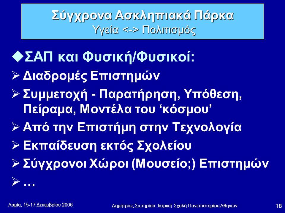 Λαμία, 15-17 Δεκεμβρίου 2006 Δημήτριος Σωτηρίου: Ιατρική Σχολή Πανεπιστημίου Αθηνών 18 uΣΑΠ και Φυσική/Φυσικοί:  Διαδρομές Επιστημών  Συμμετοχή - Παρατήρηση, Υπόθεση, Πείραμα, Μοντέλα του 'κόσμου'  Από την Επιστήμη στην Τεχνολογία  Εκπαίδευση εκτός Σχολείου  Σύγχρονοι Χώροι (Μουσείο;) Επιστημών …… Σύγχρονα Ασκληπιακά Πάρκα Υγεία Πολιτισμός