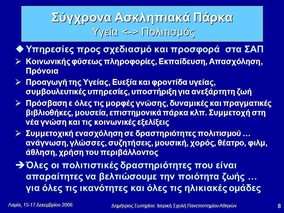 Λαμία, 15-17 Δεκεμβρίου 2006 Δημήτριος Σωτηρίου: Ιατρική Σχολή Πανεπιστημίου Αθηνών 8 uΥπηρεσίες προς σχεδιασμό και προσφορά στα ΣΑΠ  Κοινωνικής φύσεως πληροφορίες, Εκπαίδευση, Απασχόληση, Πρόνοια  Προαγωγή της Υγείας, Ευεξία και φροντίδα υγείας, συμβουλευτικές υπηρεσίες, υποστήριξη για ανεξάρτητη ζωή  Πρόσβαση ε όλες τις μορφές γνώσης, δυναμικές και πραγματικές βιβλιοθήκες, μουσεία, επιστημονικά πάρκα κλπ.