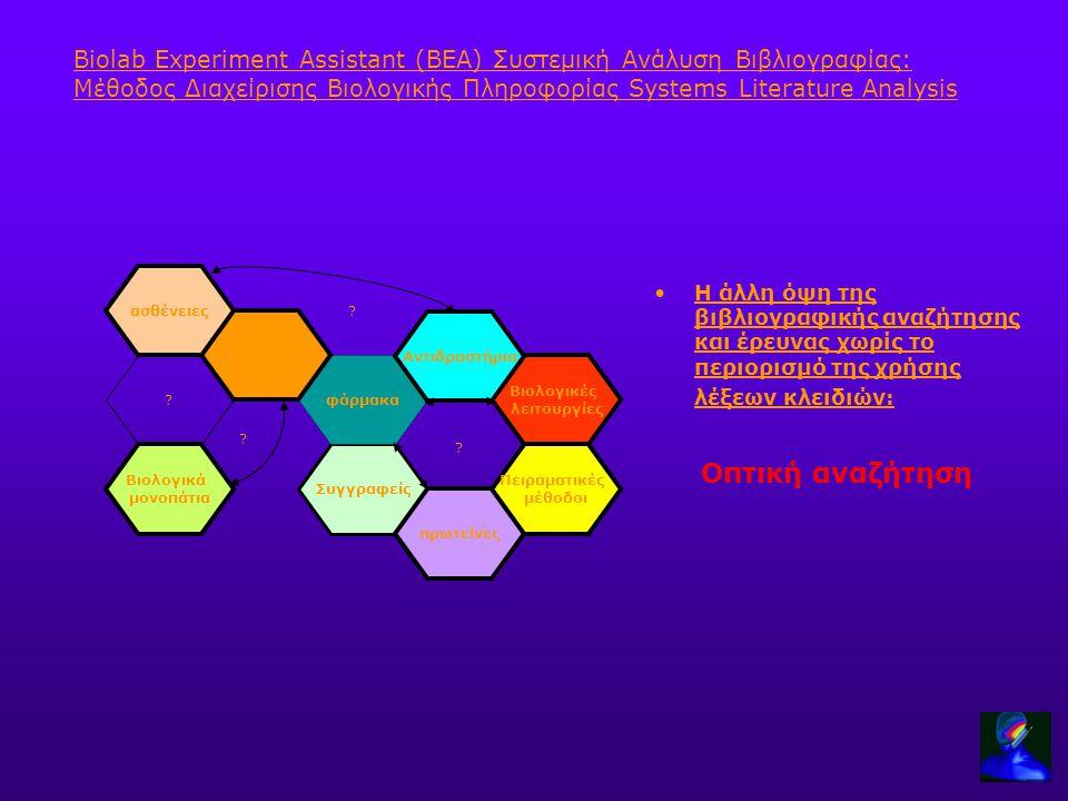 Biolab Experiment Assistant (BEA) Συστεμική Ανάλυση Βιβλιογραφίας: Μέθοδος Διαχείρισης Βιολογικής Πληροφορίας Systems Literature Analysis Η άλλη όψη τ