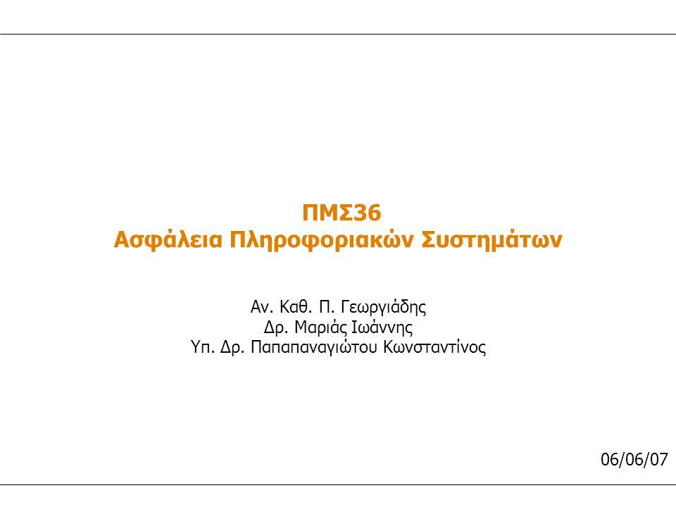 ΠΜΣ36 Ασφάλεια Πληροφοριακών Συστημάτων Αν.Καθ. Π.