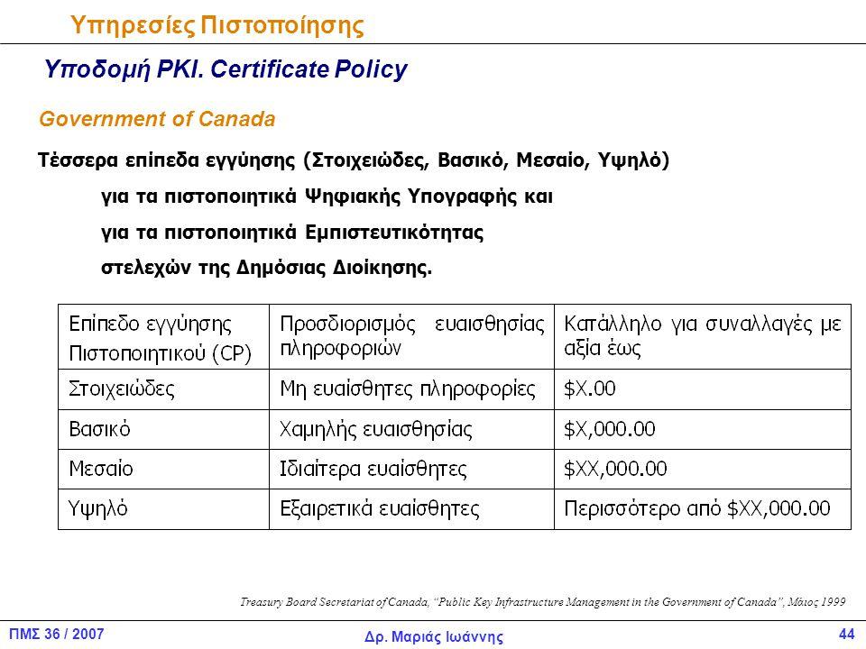 44ΠΜΣ 36 / 2007 Δρ.Μαριάς Ιωάννης Υπηρεσίες Πιστοποίησης Υποδομή PKI.