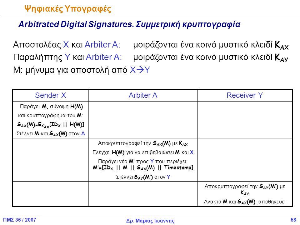 58ΠΜΣ 36 / 2007 Δρ.Μαριάς Ιωάννης Ψηφιακές Υπογραφές Arbitrated Digital Signatures.