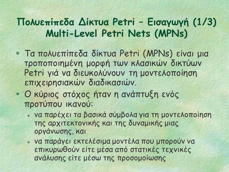 Δίκτυα Petri Πλεονεκτήματα, Μειονεκτήματα §Τa δίκτυα Petri αποτελούν το επαρκέστερο πρότυπο για την περιγραφή και την ανάλυση του συγχρονισμού, της επικοινωνίας και το διαμερισμό πόρων μεταξύ παράλληλων διαδικασιών.