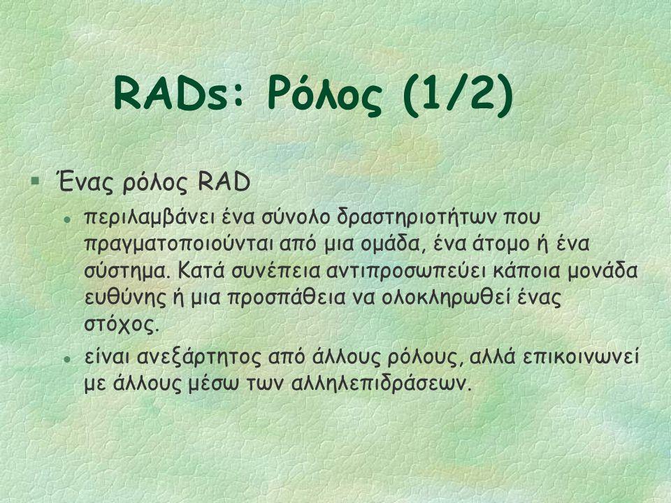 RADs Βασικές Έννοιες §Ρόλος §Κατάσταση του Ρόλου §Δραστηριότητα (action) §Έλεγχος §Επανάληψη