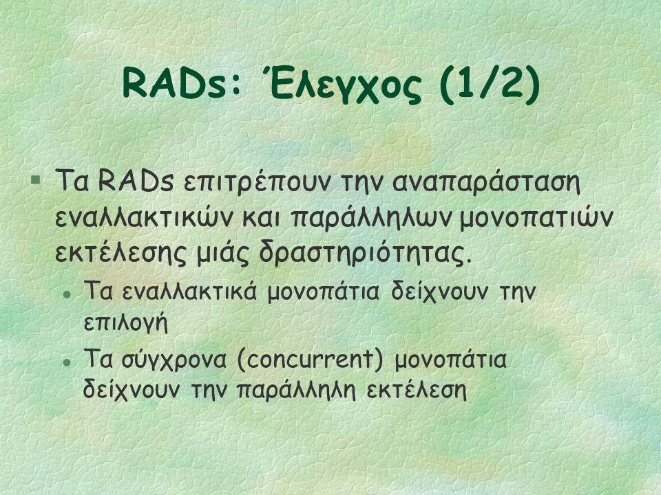 RADs: Δραστηριότητες §Δύο είδη: δραστηριότητες και αλληλεπιδράσεις.