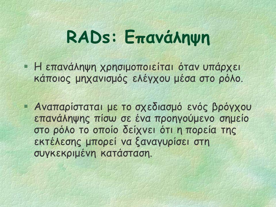 RADs: Έλεγχος (2/2) §Η επιλογή καλείται επίσης case-refinement l Το νήμα ελέγχου που χωρίζεται σε δύο μέρη αντιπροσωπεύει μια case-refinement.