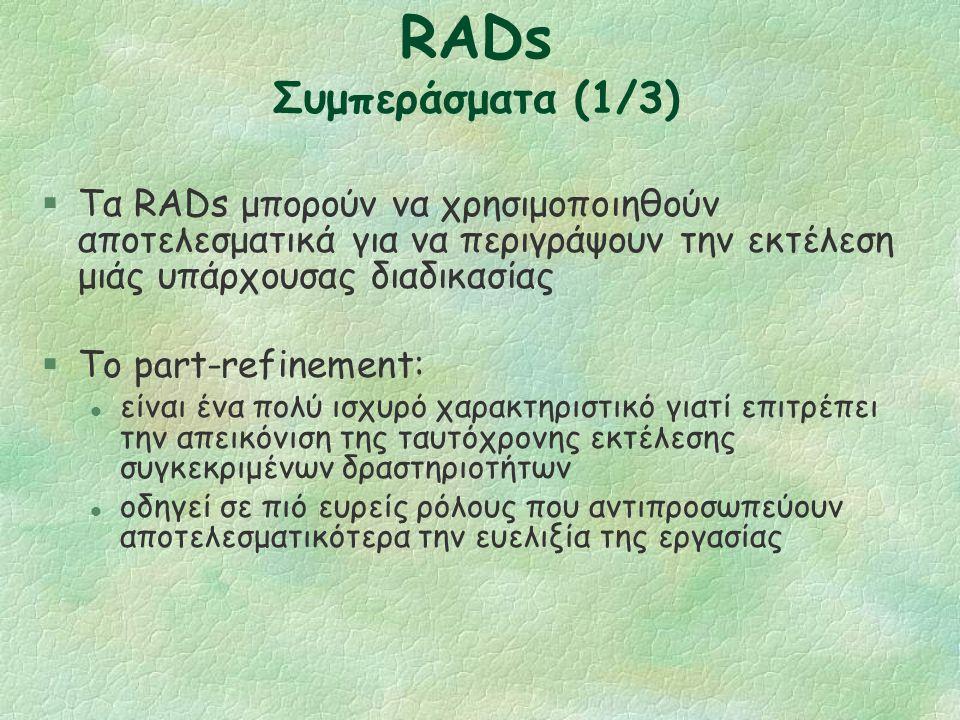 RADs: Επανάληψη §Η επανάληψη χρησιμοποιείται όταν υπάρχει κάποιος μηχανισμός ελέγχου μέσα στο ρόλο.
