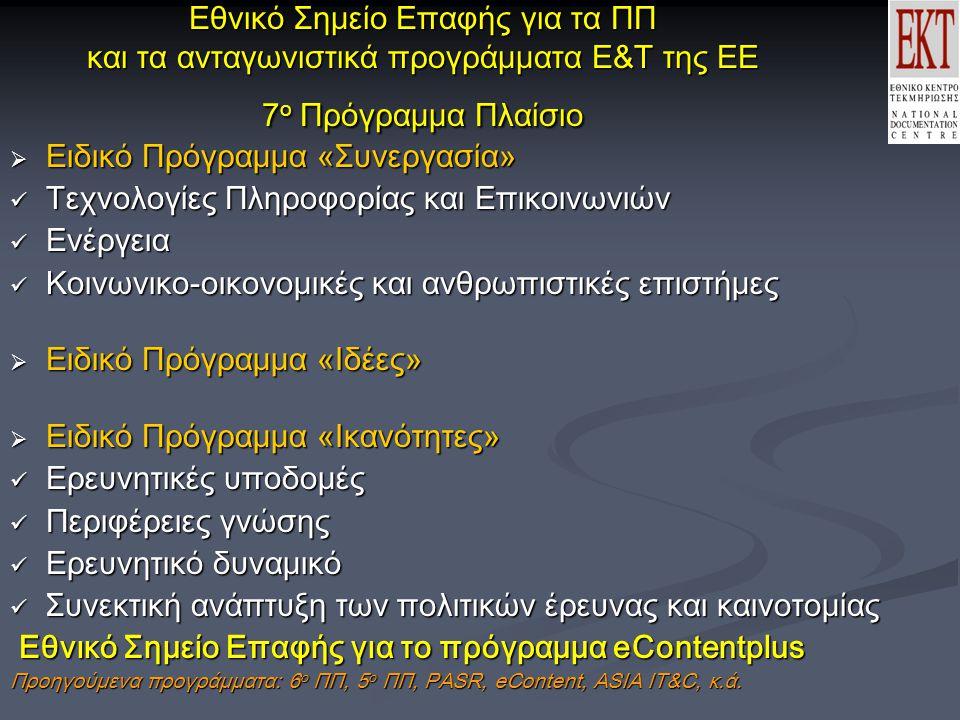 Εθνικό Σημείο Επαφής για τα ΠΠ και τα ανταγωνιστικά προγράμματα Ε&Τ της ΕΕ 7 ο Πρόγραμμα Πλαίσιο  Ειδικό Πρόγραμμα «Συνεργασία» Τεχνολογίες Πληροφορίας και Επικοινωνιών Τεχνολογίες Πληροφορίας και Επικοινωνιών Ενέργεια Ενέργεια Κοινωνικο-οικονομικές και ανθρωπιστικές επιστήμες Κοινωνικο-οικονομικές και ανθρωπιστικές επιστήμες  Ειδικό Πρόγραμμα «Ιδέες»  Ειδικό Πρόγραμμα «Ικανότητες» Ερευνητικές υποδομές Ερευνητικές υποδομές Περιφέρειες γνώσης Περιφέρειες γνώσης Ερευνητικό δυναμικό Ερευνητικό δυναμικό Συνεκτική ανάπτυξη των πολιτικών έρευνας και καινοτομίας Συνεκτική ανάπτυξη των πολιτικών έρευνας και καινοτομίας Εθνικό Σημείο Επαφής για το πρόγραμμα eContentplus Εθνικό Σημείο Επαφής για το πρόγραμμα eContentplus Προηγούμενα προγράμματα: 6 ο ΠΠ, 5 ο ΠΠ, PASR, eContent, ASIA IT&C, κ.ά.