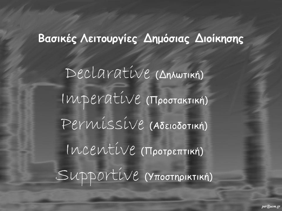 Declarative (Δηλωτική) Imperative (Προστακτική) Permissive (Αδειοδοτική) Incentive (Προτρεπτική) Supportive (Υποστηρικτική) Βασικές Λειτουργίες Δημόσιας Διοίκησης per@uom.gr