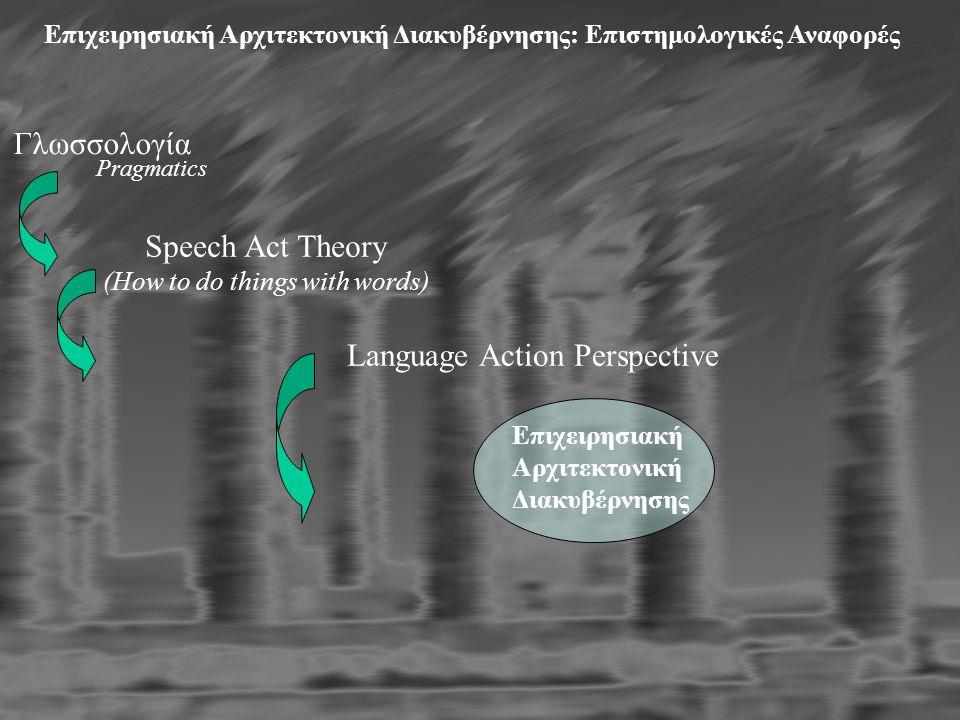Επιχειρησιακή Αρχιτεκτονική Διακυβέρνησης: Επιστημολογικές Αναφορές Γλωσσολογία Pragmatics Speech Act Theory (How to do things with words) Language Action Perspective Επιχειρησιακή Αρχιτεκτονική Διακυβέρνησης
