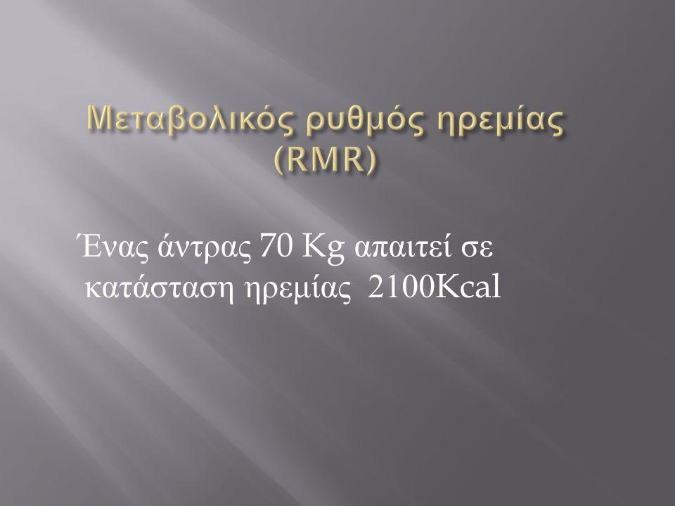 Ένας άντρας 70 Kg απαιτεί σε κατάσταση ηρεμίας 2100Kcal
