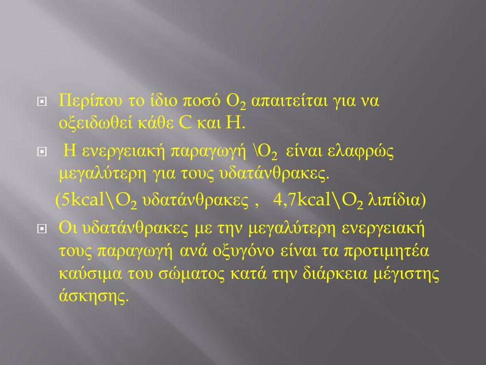  Περίπου το ίδιο ποσό Ο 2 απαιτείται για να οξειδωθεί κάθε C και H.  Η ενεργειακή παραγωγή \ Ο 2 είναι ελαφρώς μεγαλύτερη για τους υδατάνθρακες. (5k