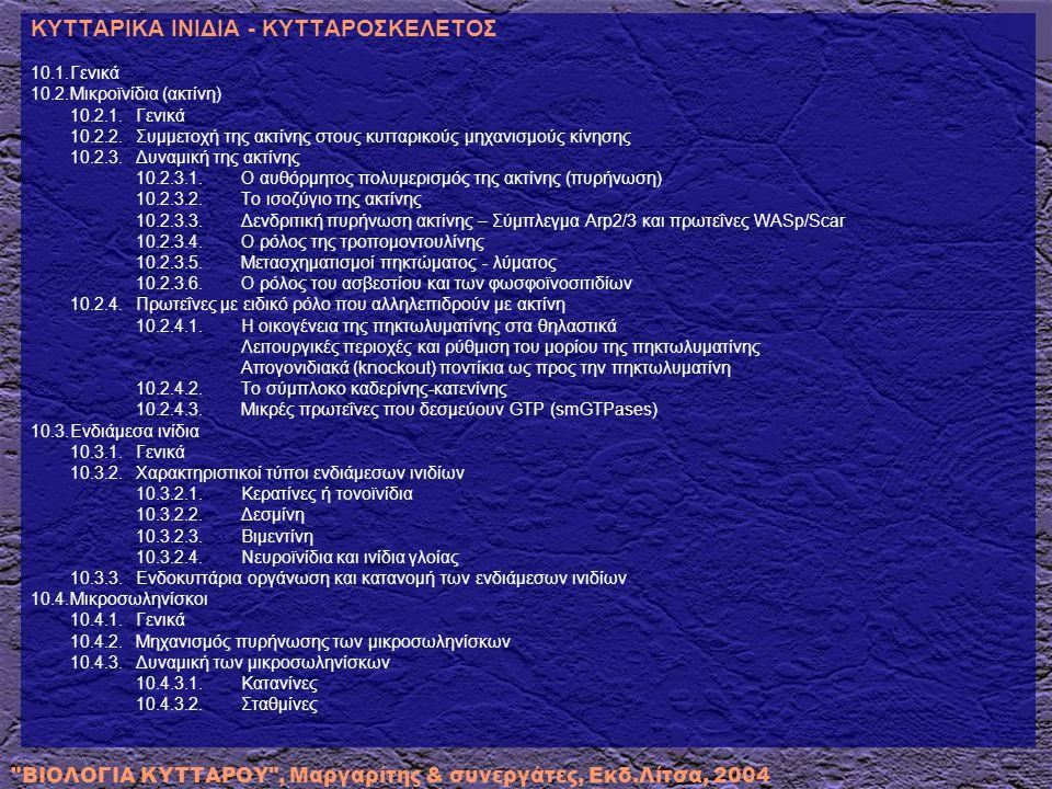 ΒΙΟΛΟΓΙΑ ΚΥΤΤΑΡΟΥ , Μαργαρίτης & συνεργάτες, Εκδ.Λίτσα, 2004 10.4.4.Κέντρα Οργάνωσης Μικροσωληνίσκων (MTOC) 10.4.4.1.Παραλλαγή μορφής και κατανομής των κέντρων οργάνωσης μέσα στα κύτταρα 10.4.4.2.Τα MTOC ως θέσεις συγκρότησης μικροσωληνίσκων 10.4.4.3.Τα MTOC ως δομικά καλούπια 10.4.4.4.Ο ρόλος των MTOC 10.4.4.5.Κεντροσωμάτια 10.4.5.Κινησίνη: Η μικρότερη μοριακή μηχανή 10.4.6.Ο ρόλος των μικροσωληνίσκων στη μίτωση 10.5.Βλεφαρίδες και μαστίγια 10.5.1.Μηχανισμός κίνησης βλεφαρίδων και μαστιγίων 10.6.Κυτταρική κίνηση μέσω κυτταροπλασματικών προεκβολών 10.6.1.Ο ρόλος της κορονίνης στην κυτταρική κίνηση 10.7.Το σύστημα ακτο-μυοσίνης 10.7.1.Μυϊκά κύτταρα 10.7.1.1.Πρωτεΐνες των χονδρών μυϊκών ινιδίων 10.7.1.2.Πρωτεΐνες των λεπτών μυϊκών ινιδίων 10.7.1.3.Αλληλεπίδραση των μυοϊνιδίων με την εξωκυττάρια ουσία 10.7.2.Μη μυϊκά κύτταρα 10.7.2.1.Οι τάξεις των άτυπων μυοσινών και ο ρόλος τους στην κυτταρική κίνηση 10.7.2.2.Πρωτεΐνες των πλακών ή εστιών προσκόλλησης – Ρόλος της ακτομυοσίνης 10.8.Ινίδια και κυτταρικό σχήμα 10.8.1.Μικρολάχνες 10.8.2.Ο ρόλος της σπεκτρίνης στο κυτταρικό σχήμα 10.9.Ο κυτταροσκελετός στους προκαρυωτικούς οργανισμούς 10.9.1.Δομές προσκόλλησης και κίνησης στα βακτηριακά κύτταρα 10.9.2.Συσχέτιση των ινιδίων ακτίνης με την παθογενετική στρατηγική των εντερικών βακτηρίων 10.10.Δυναμική του κυτταροσκελετού στα φυτά 10.10.1.Προφιλίνη 10.10.2.Οικογένεια της δυναμίνης 10.10.3.Φυτικές ορμόνες και κυτταροσκελετός 10.11.Ασθένειες που σχετίζονται με τα κυτταροπλασματικά ινίδια 10.11.1.Η σχέση των ενδιάμεσων ινιδίων (ΕΙ) με παθολογικές καταστάσεις 10.11.2.Ασθένειες που σχετίζονται με πρωτεΐνες που ελέγχουν τον πολυμερισμό της ακτίνης 10.11.3.Κινησίνες και παθολογικές καταστάσεις 10.11.4.Μυϊκή δυστροφία 10.11.5.Ασθένειες που σχετίζονται με τους μικροσωληνίσκους Βιβλιογραφία