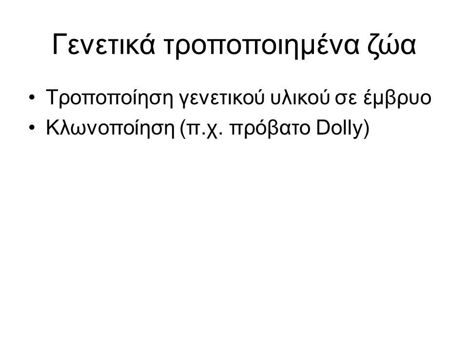 Γενετικά τροποποιημένα ζώα Τροποποίηση γενετικού υλικού σε έμβρυο Κλωνοποίηση (π.χ. πρόβατο Dolly)
