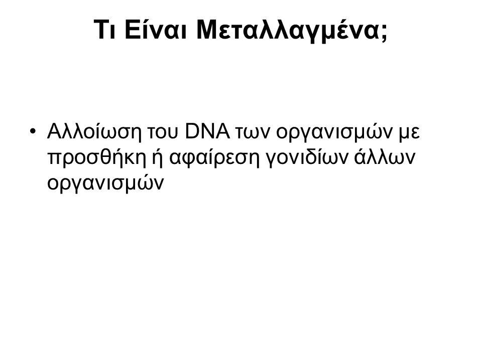 Τι Είναι Μεταλλαγμένα; Αλλοίωση του DNA των οργανισμών με προσθήκη ή αφαίρεση γονιδίων άλλων οργανισμών