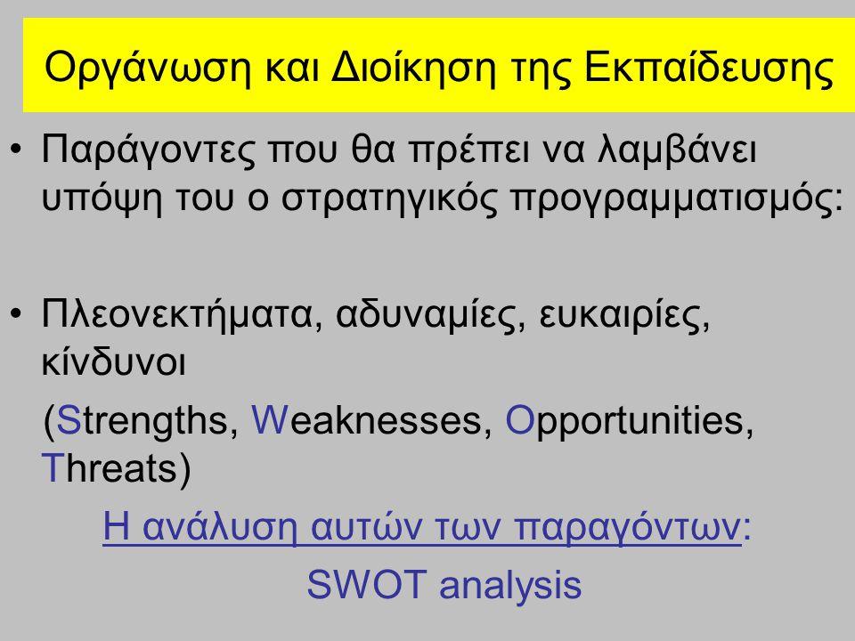 Οργάνωση και Διοίκηση της Εκπαίδευσης Παράγοντες που θα πρέπει να λαμβάνει υπόψη του ο στρατηγικός προγραμματισμός: Πλεονεκτήματα, αδυναμίες, ευκαιρίες, κίνδυνοι (Strengths, Weaknesses, Opportunities, Threats) Η ανάλυση αυτών των παραγόντων: SWOT analysis