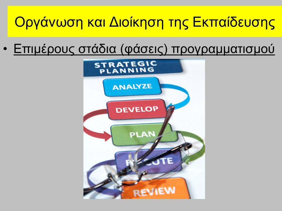 Οργάνωση και Διοίκηση της Εκπαίδευσης Επιμέρους στάδια (φάσεις) προγραμματισμού