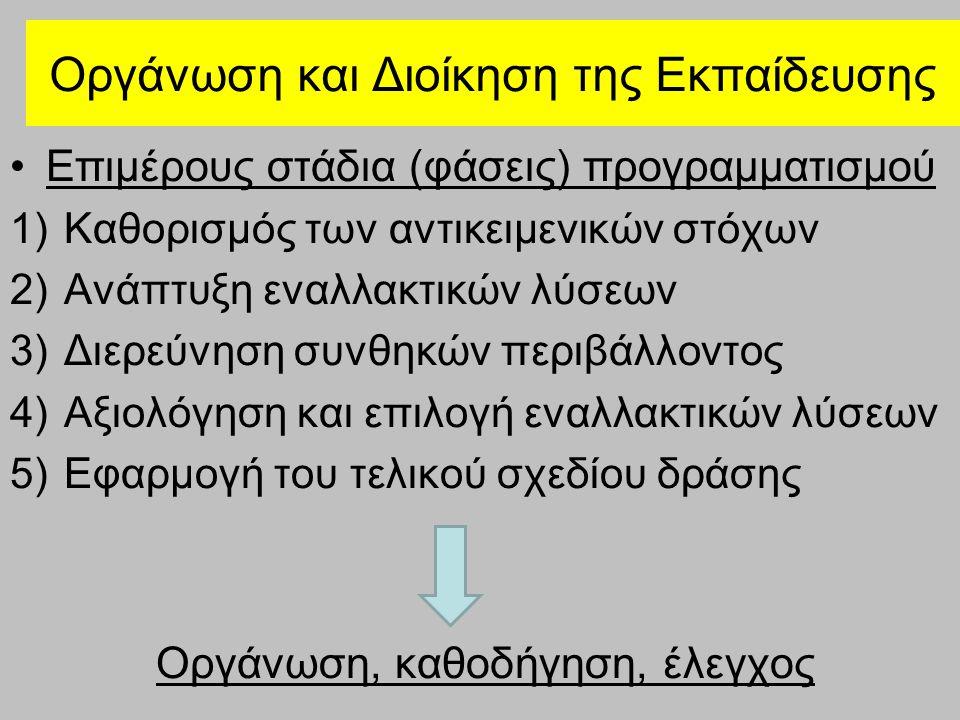 Οργάνωση και Διοίκηση της Εκπαίδευσης Επιμέρους στάδια (φάσεις) προγραμματισμού 1)Καθορισμός των αντικειμενικών στόχων 2)Ανάπτυξη εναλλακτικών λύσεων 3)Διερεύνηση συνθηκών περιβάλλοντος 4)Αξιολόγηση και επιλογή εναλλακτικών λύσεων 5)Εφαρμογή του τελικού σχεδίου δράσης Οργάνωση, καθοδήγηση, έλεγχος