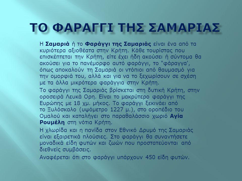 Η Σαμαριά ή το Φαράγγι της Σαμαριάς είναι ένα από τα κυριότερα αξιοθέατα στην Κρήτη. Κάθε τουρίστας που επισκέπτεται την Κρήτη, είτε έχει ήδη ακούσει
