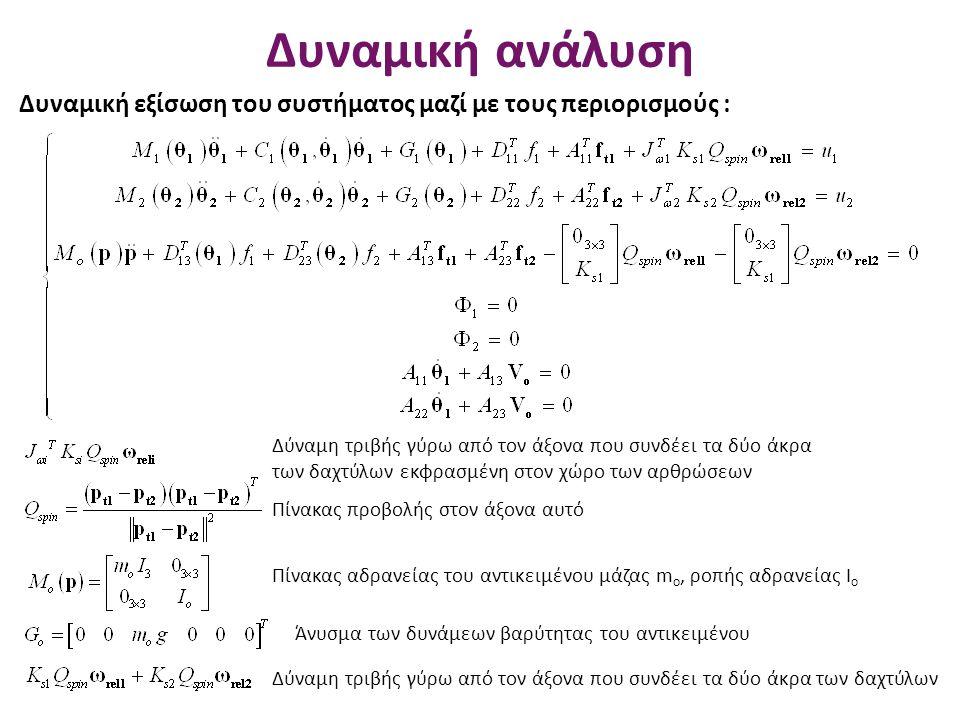 Δυναμική ανάλυση Δυναμική εξίσωση του συστήματος μαζί με τους περιορισμούς : Δύναμη τριβής γύρω από τον άξονα που συνδέει τα δύο άκρα των δαχτύλων εκφ