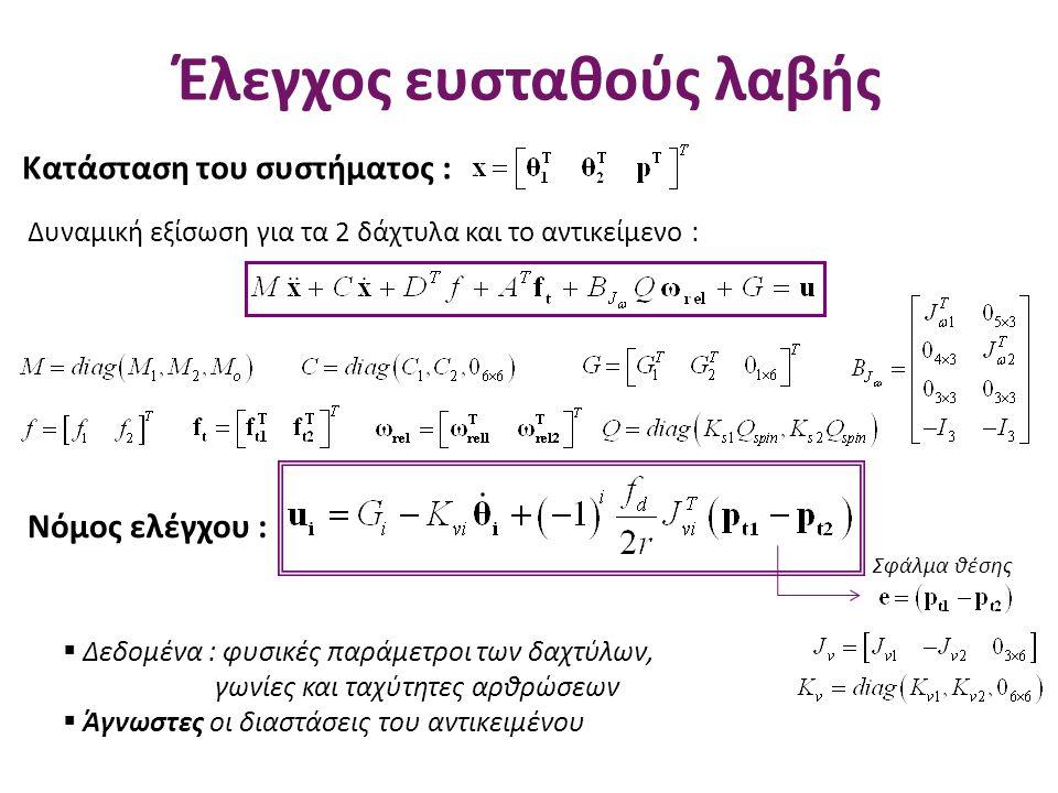 Έλεγχος ευσταθούς λαβής Δυναμική εξίσωση για τα 2 δάχτυλα και το αντικείμενο : Κατάσταση του συστήματος : Νόμος ελέγχου : Σφάλμα θέσης  Δεδομένα : φυ
