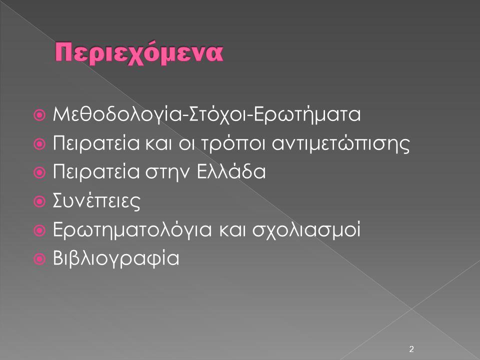  Μεθοδολογία-Στόχοι-Ερωτήματα  Πειρατεία και οι τρόποι αντιμετώπισης  Πειρατεία στην Ελλάδα  Συνέπειες  Ερωτηματολόγια και σχολιασμοί  Βιβλιογρα