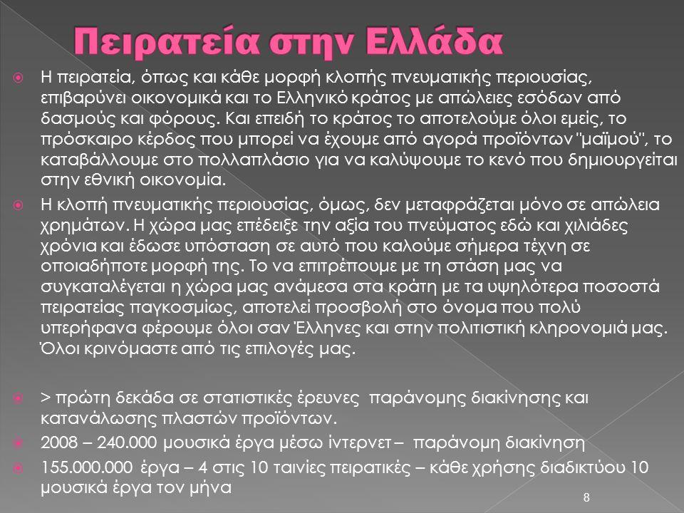  Η πειρατεία, όπως και κάθε μορφή κλοπής πνευματικής περιουσίας, επιβαρύνει οικονομικά και το Ελληνικό κράτος με απώλειες εσόδων από δασμούς και φόρο
