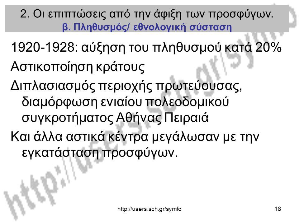 http://users.sch.gr/symfo18 2. Οι επιπτώσεις από την άφιξη των προσφύγων. β. Πληθυσμός/ εθνολογική σύσταση 1920-1928: αύξηση του πληθυσμού κατά 20% Ασ