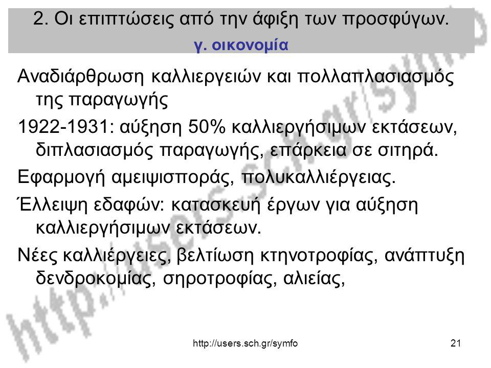 http://users.sch.gr/symfo21 2. Οι επιπτώσεις από την άφιξη των προσφύγων. γ. οικονομία Αναδιάρθρωση καλλιεργειών και πολλαπλασιασμός της παραγωγής 192