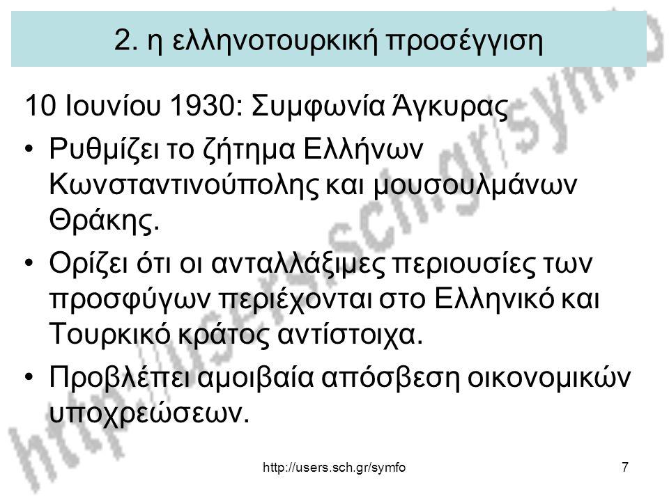 http://users.sch.gr/symfo7 2. η ελληνοτουρκική προσέγγιση 10 Ιουνίου 1930: Συμφωνία Άγκυρας Ρυθμίζει το ζήτημα Ελλήνων Κωνσταντινούπολης και μουσουλμά