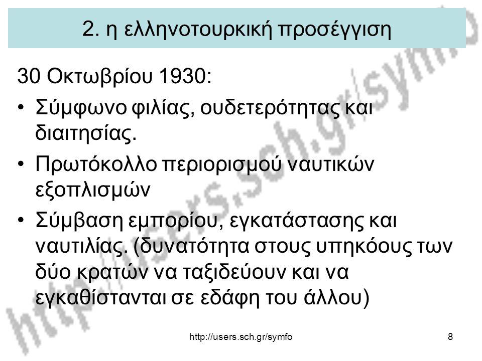 http://users.sch.gr/symfo8 2. η ελληνοτουρκική προσέγγιση 30 Οκτωβρίου 1930: Σύμφωνο φιλίας, ουδετερότητας και διαιτησίας. Πρωτόκολλο περιορισμού ναυτ