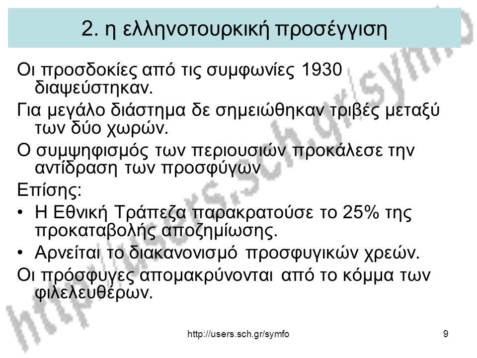 http://users.sch.gr/symfo9 2. η ελληνοτουρκική προσέγγιση Οι προσδοκίες από τις συμφωνίες 1930 διαψεύστηκαν. Για μεγάλο διάστημα δε σημειώθηκαν τριβές