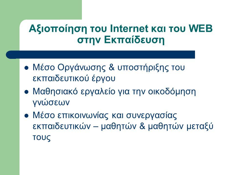 Αξιοποίηση του Internet και του WEB στην Εκπαίδευση Μέσο Οργάνωσης & υποστήριξης του εκπαιδευτικού έργου Μαθησιακό εργαλείο για την οικοδόμηση γνώσεων Μέσο επικοινωνίας και συνεργασίας εκπαιδευτικών – μαθητών & μαθητών μεταξύ τους