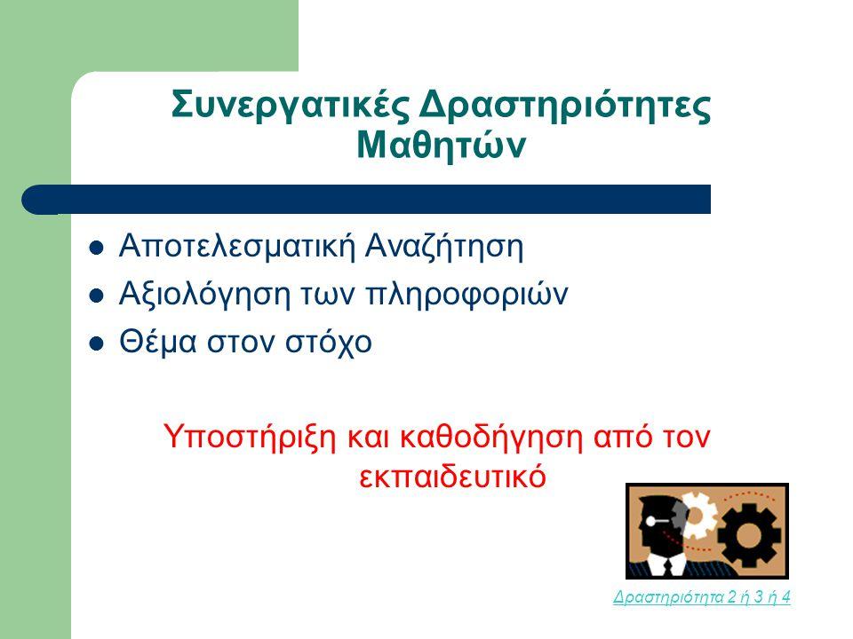 Συνεργατικές Δραστηριότητες Μαθητών Αποτελεσματική Αναζήτηση Αξιολόγηση των πληροφοριών Θέμα στον στόχο Υποστήριξη και καθοδήγηση από τον εκπαιδευτικό Δραστηριότητα 2 ή 3 ή 4