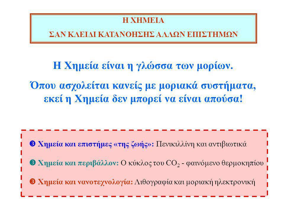 Η ΧΗΜΕΙΑ ΣΑΝ ΚΛΕΙΔΙ ΚΑΤΑΝΟΗΣΗΣ ΑΛΛΩΝ ΕΠΙΣΤΗΜΩΝ  Χημεία και επιστήμες «της ζωής»: Πενικιλλίνη και αντιβιωτικά  Χημεία και περιβάλλον: Ο κύκλος του CO