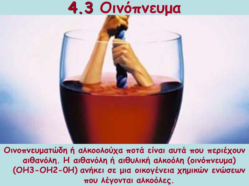 4.3 Οινόπνευμα Από τα πολύ παλιά χρόνια οι άνθρωποι έπιναν οινοπνευματώδη ποτά για να ικανοποιήσουν την πείνα τους, να ξεχάσουν τα προβλήματα τους και