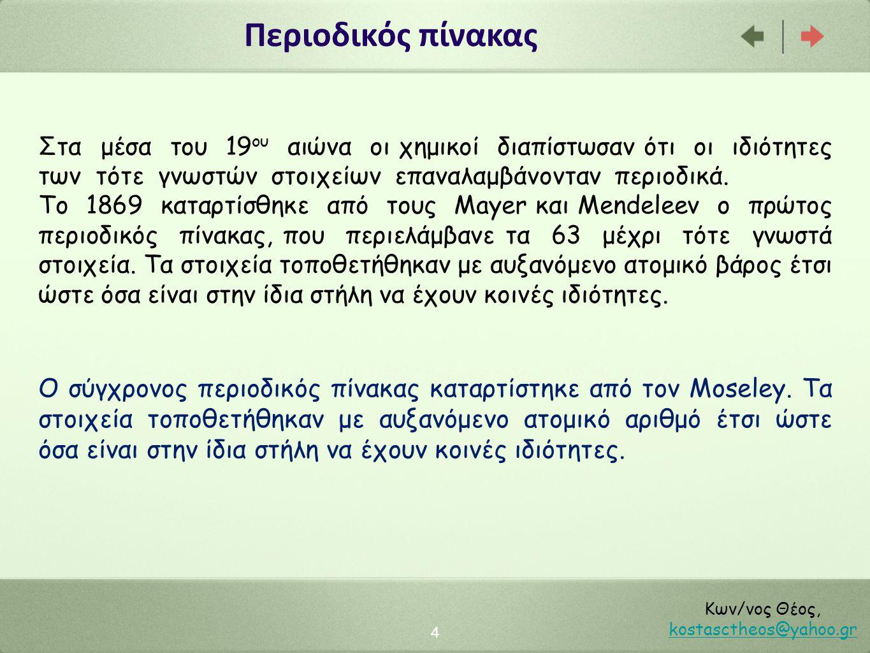 Περιοδικός πίνακας 4 Κων/νος Θέος, kostasctheos@yahoo.gr kostasctheos@yahoo.gr Στα μέσα του 19 ου αιώνα οι χημικοί διαπίστωσαν ότι οι ιδιότητες των τότε γνωστών στοιχείων επαναλαμβάνονταν περιοδικά.