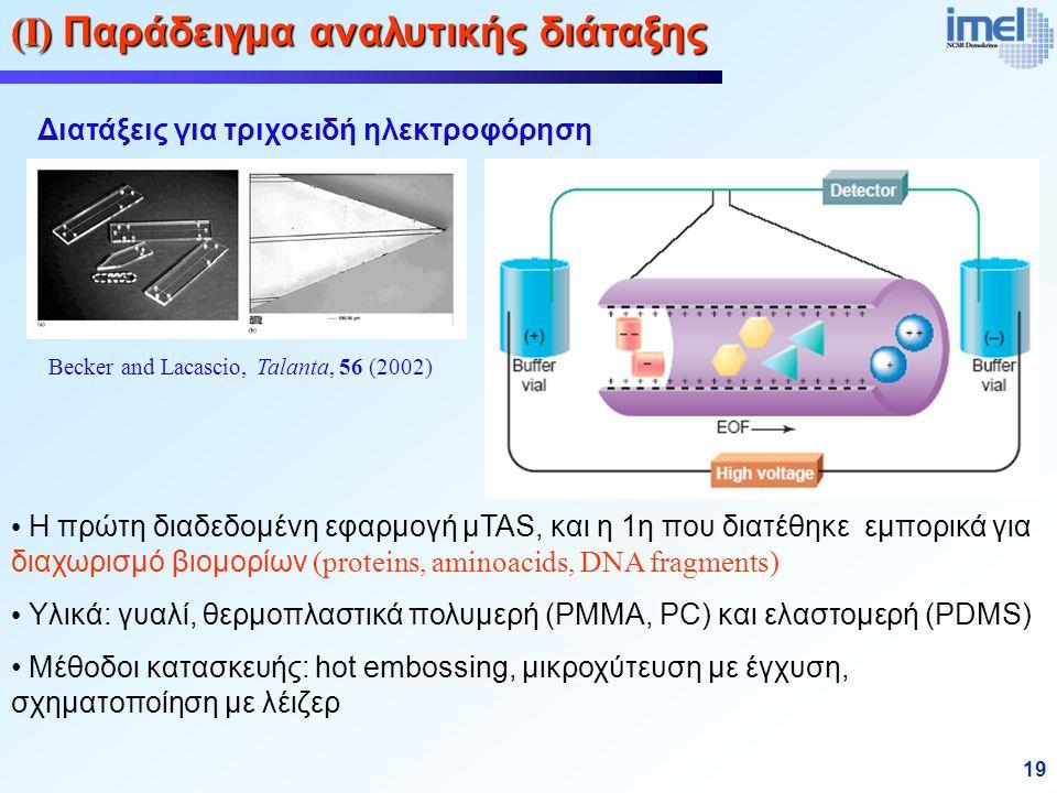 19 (Ι) Παράδειγμα αναλυτικής διάταξης Διατάξεις για τριχοειδή ηλεκτροφόρηση Η πρώτη διαδεδομένη εφαρμογή μTAS, και η 1η που διατέθηκε εμπορικά για διαχωρισμό βιομορίων (proteins, aminoacids, DNA fragments) Υλικά: γυαλί, θερμοπλαστικά πολυμερή (PMMA, PC) και ελαστομερή (PDMS) Μέθοδοι κατασκευής: hot embossing, μικροχύτευση με έγχυση, σχηματοποίηση με λέιζερ Becker and Lacascio, Talanta, 56 (2002)