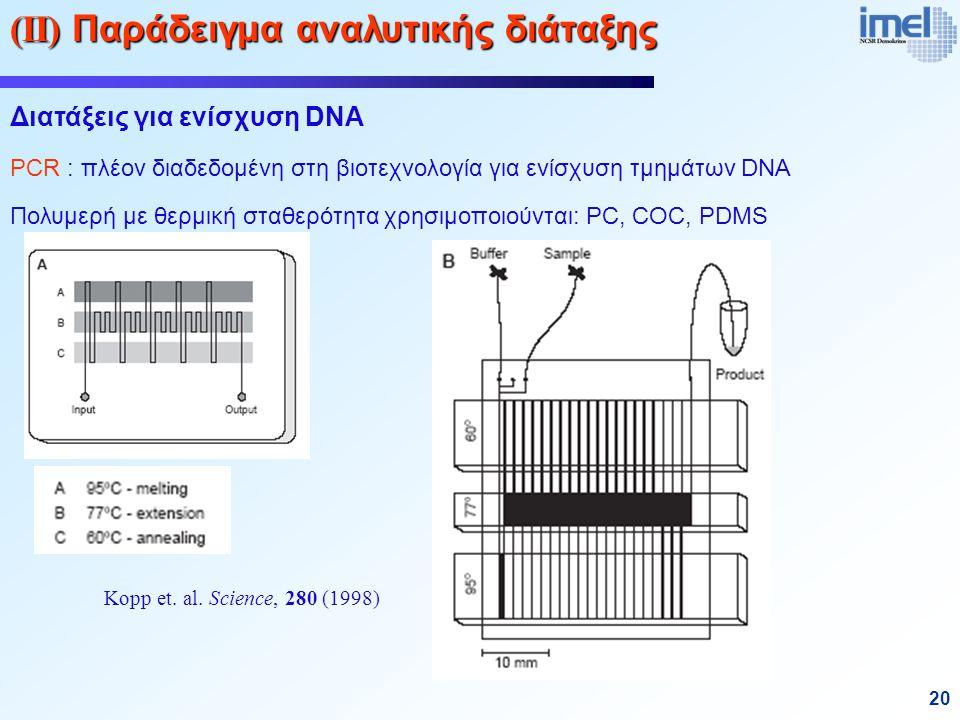 20 (ΙΙ) Παράδειγμα αναλυτικής διάταξης Διατάξεις για ενίσχυση DNA PCR : πλέον διαδεδομένη στη βιοτεχνολογία για ενίσχυση τμημάτων DNA Πολυμερή με θερμική σταθερότητα χρησιμοποιούνται: PC, COC, PDMS Kopp et.